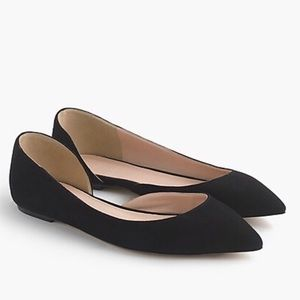 NEW J. CREW AUDREY FLATS IN BLACK SUEDE